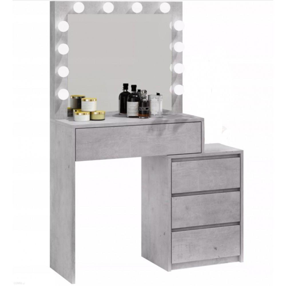 Туалетный Столик косметический трюмо с большим зеркалом с подсветкой на четыре вместительных ящика серый