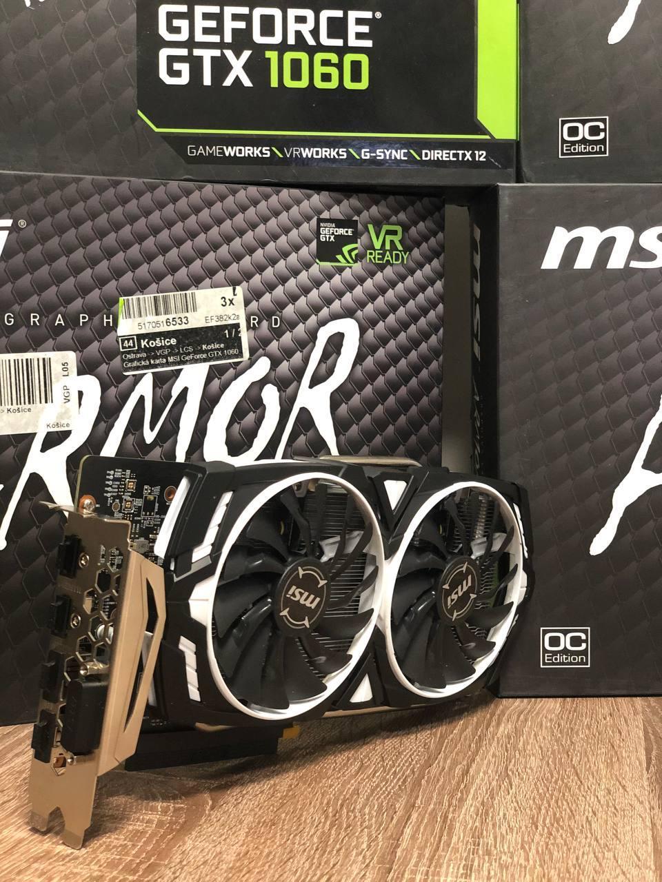 Видеокарта MSI  GeForce GTX 1060 Armor OCV1 6GB GDDR5 (192bit) (1544/8008) (DVI, 2 x HDMI, 2 x DisplayPort )