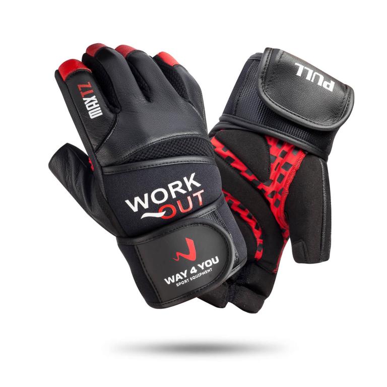 Рукавички для важкої атлетики та фітнесу з напульсником Чоловічі Чорний/Червоний w-1050M