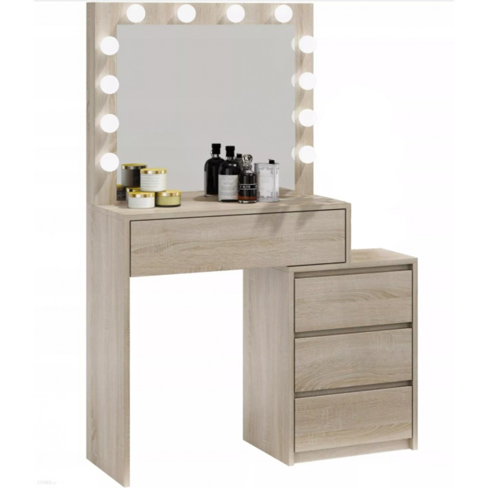Туалетный Столик косметический трюмо с большим зеркалом с подсветкой на четыре вместительных ящика дуб сонома
