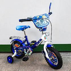 """Велосипед TILLY 2-х колісний 12"""" Космонавт blue зі дзвінком дзеркалом та ручним гальмом T-21226"""
