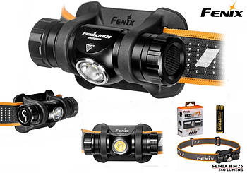 Легкий Налобный фонарик Fenix HM23 240LM с теплым светом (Cree XP G3 S3 NW, IP68, TIR оптика, Батарея AA)