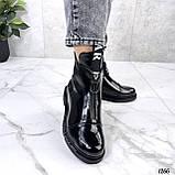 Только 36, 41 р! Женские ботинки ДЕМИ черные спереди молния эко лак весна /осень, фото 2