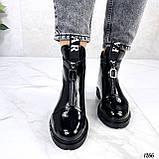 Только 36, 41 р! Женские ботинки ДЕМИ черные спереди молния эко лак весна /осень, фото 3