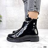 Только 36, 41 р! Женские ботинки ДЕМИ черные спереди молния эко лак весна /осень, фото 4