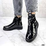 Только 36, 41 р! Женские ботинки ДЕМИ черные спереди молния эко лак весна /осень, фото 5