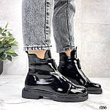 Только 36, 41 р! Женские ботинки ДЕМИ черные спереди молния эко лак весна /осень, фото 6