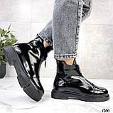 Только 36, 41 р! Женские ботинки ДЕМИ черные спереди молния эко лак весна /осень, фото 9