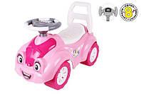 Беби машина 6658 (1) цвет розовый ТЕХНОК музыкальный руль, 8 сигналов, в коробке