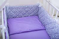 Бортики в детскую кроватку Хлопковые Традиции 180х30 см 1 шт Лавандовый КОД: DRV7mIfC