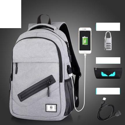 Рюкзак Senkey&Style серый с кодовым замком, пеналом и с USB светящийся в темноте с скрытым карманом