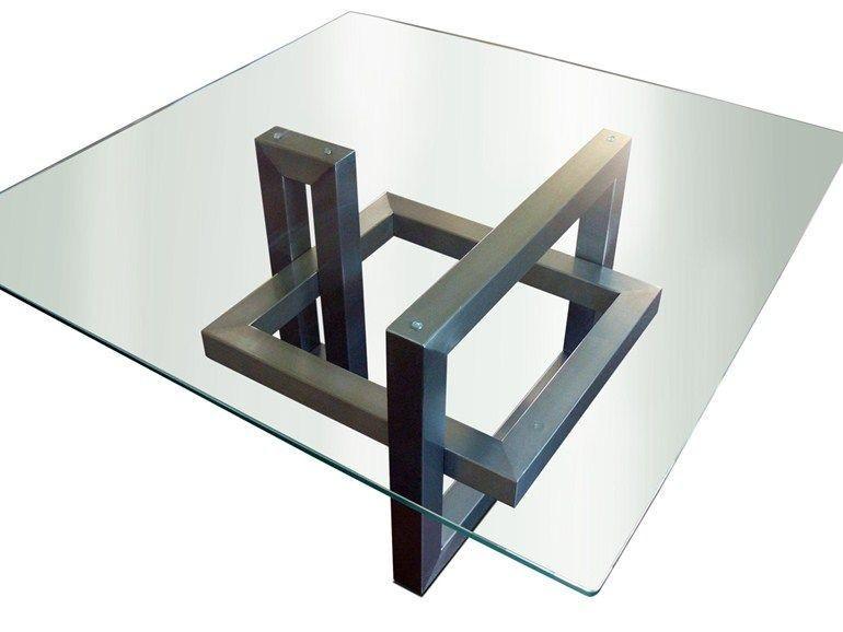 Стол журнальный металлический со стеклом Atrium