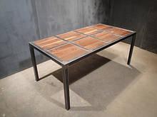 Стол обеденный метеллический с деревом Shtein