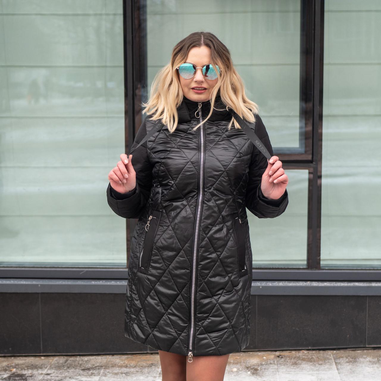 Женская демисезонная куртка  больших размеров  50,52,58 черный