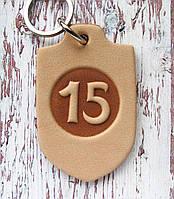 Номерок з натуральної шкіри для ключів у вигляді будиночка, фото 1