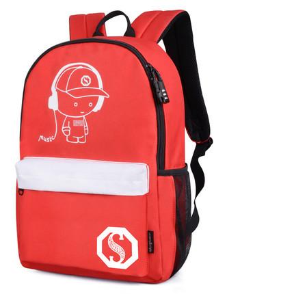 Городской рюкзак Music Senkey & Style красный с белым, который светится в темноте