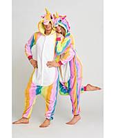 Кигуруми пижама Радужный единорог размер M, костюм животного с капюшоном, кигурими для взрослого рост 150, 160