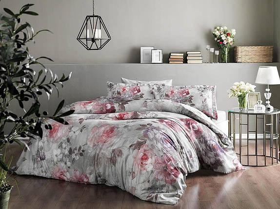 Двуспальный евро комплект TAC Elisha Pink Сатин-Digital, фото 2