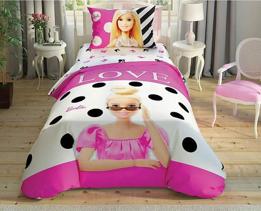 Детский и подростковый комплект TAC Barbie Glitter Ранфорс / простынь на резинке, фото 2