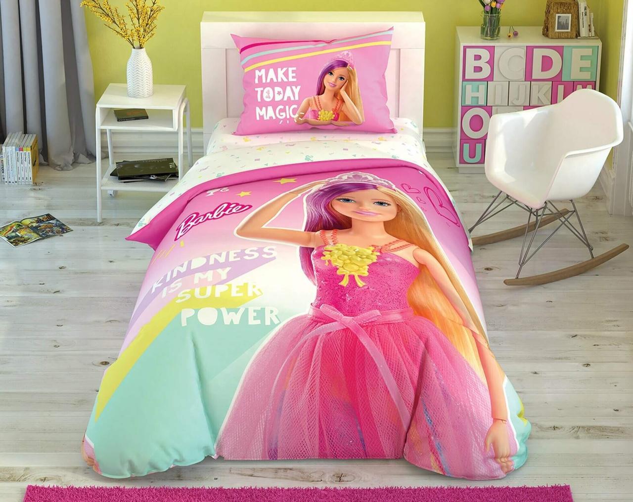Детский и подростковый комплект TAC Barbie Kindness Ранфорс простынь на резинке+светится в темноте