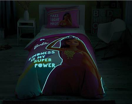 Детский и подростковый комплект TAC Barbie Kindness Ранфорс простынь на резинке+светится в темноте, фото 2
