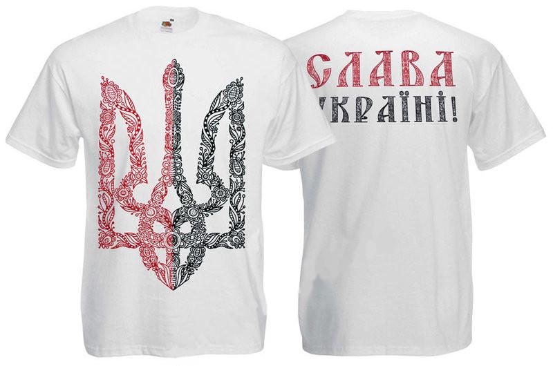 Футболка ТРИЗУБ червоно-чорній(з візерунками) - біла