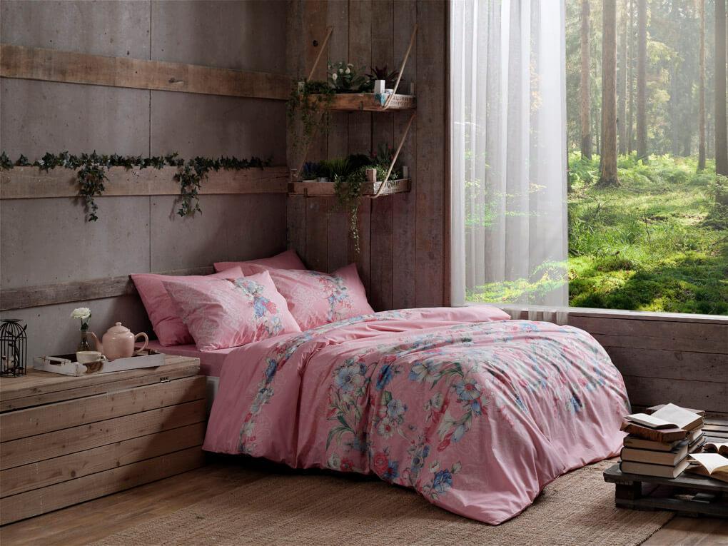 Двуспальный King Size комплект TAC Fleur Pink Ранфорс