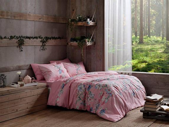 Двуспальный King Size комплект TAC Fleur Pink Ранфорс, фото 2