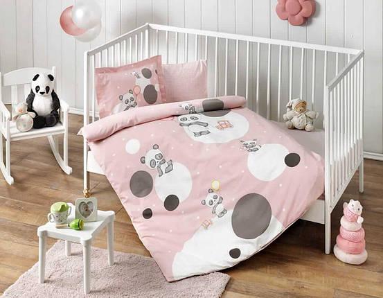 Комплект постельного белья в кроватку TAC Happy Moons Pink Ранфорс, фото 2