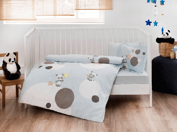 Комплект постельного белья в кроватку TAC Happy Moons Blue Ранфорс, фото 2
