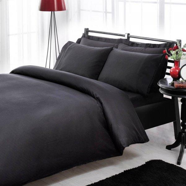 Двуспальный евро комплект ТАС Premium Basic Black Сатин-Stripe