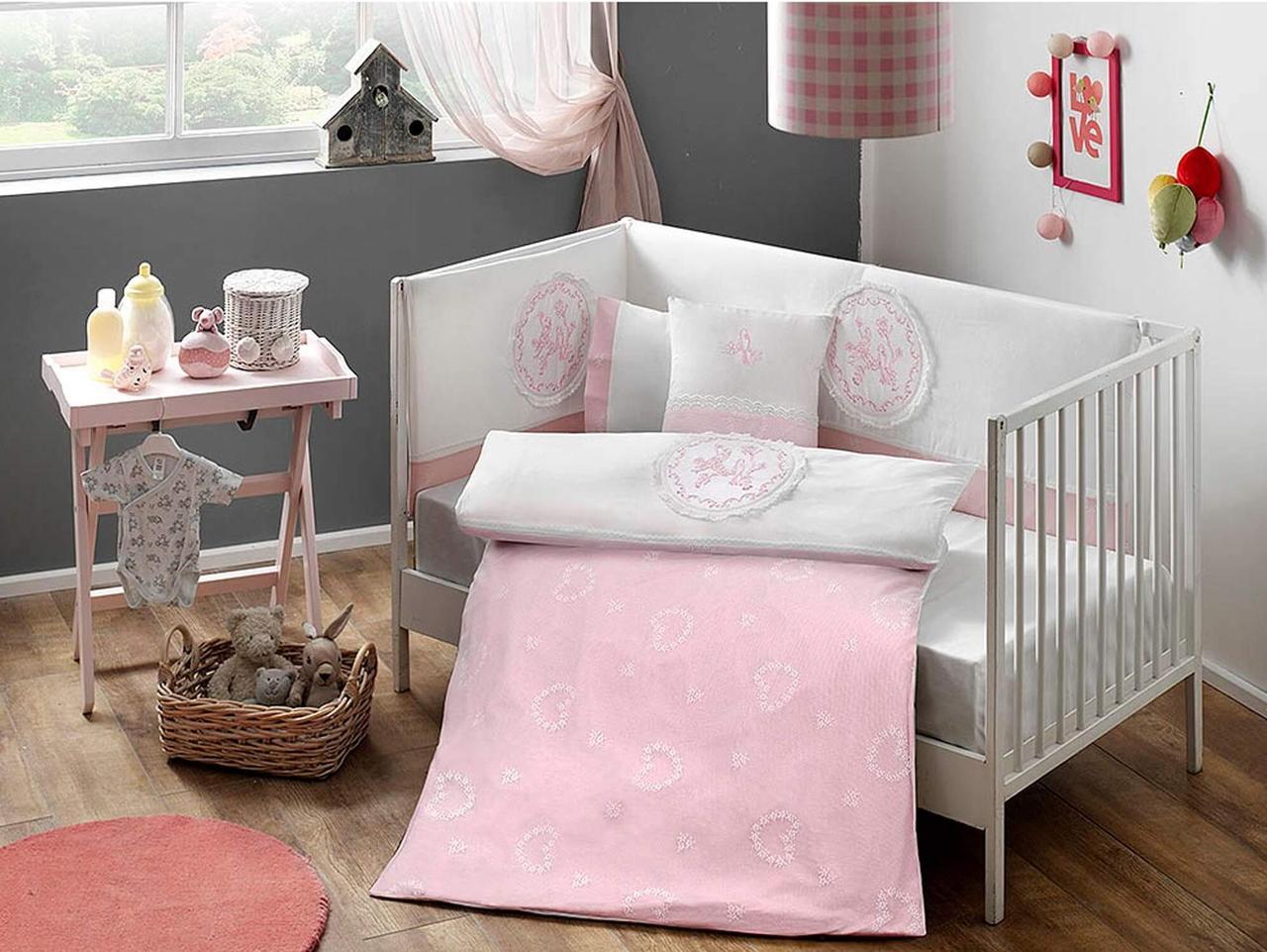 Набір в ліжечко з бортиками і ковдрою TAC Sweet Baby Pink (8 предметів)