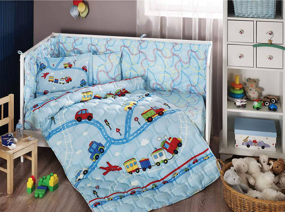 Набор в кроватку с бортиками и одеялом TAC Traffic Blue (6 предметов), фото 2