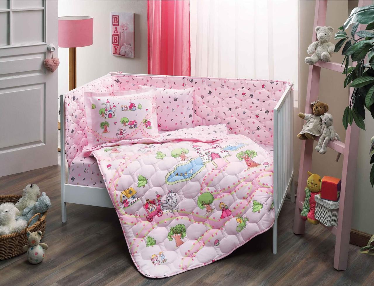 Набор в кроватку с бортиками и одеялом TAC Princess Pink (6 предметов)