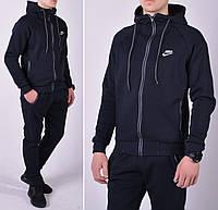 Утепленный мужской спортивный костюм / Трикотаж трехнитка - темно-синій