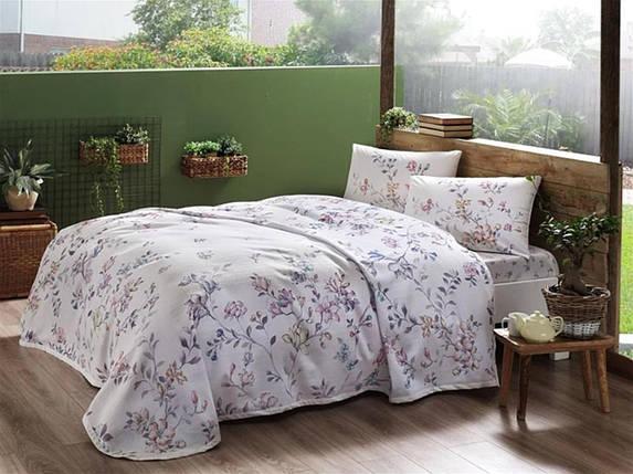 Комплект постельного белья с пике TAC Julianne Pink полуторный / простынь на резинке, фото 2