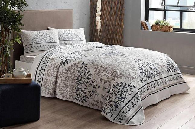 Комплект постельного белья с покрывалом-пике TAC Valencia Blue полуторный / простынь на резинке, фото 2
