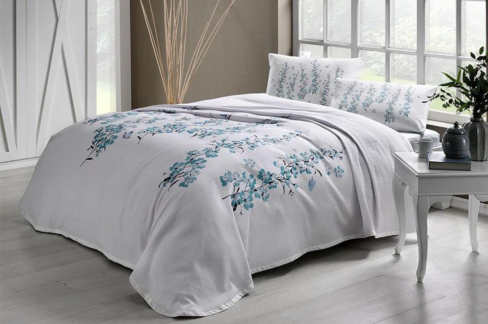 Комплект постельного белья с покрывалом-пике TAC Ronna Mint полуторный / простынь на резинке