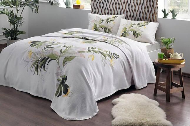 Комплект постельного белья с покрывалом-пике TAC Juno Green полуторный / простынь на резинке, фото 2