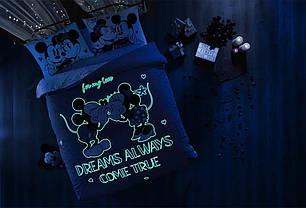 Двуспальный евро комплект TAC M&M Dreams Glow Ранфорс / простынь на резинке, фото 2