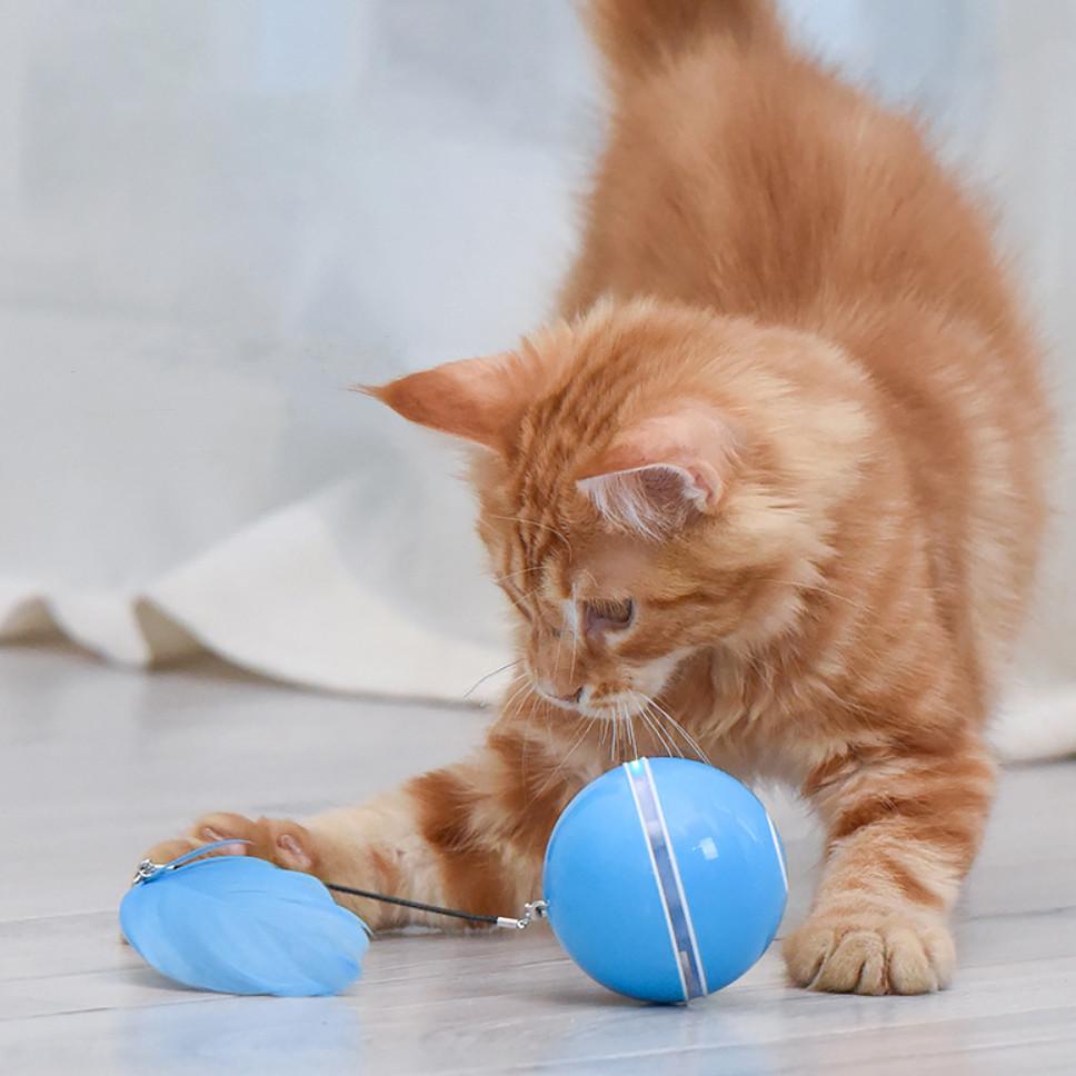 Игрушка для кошки USB smart мяч-шарик c подвеской и LED подсветкой