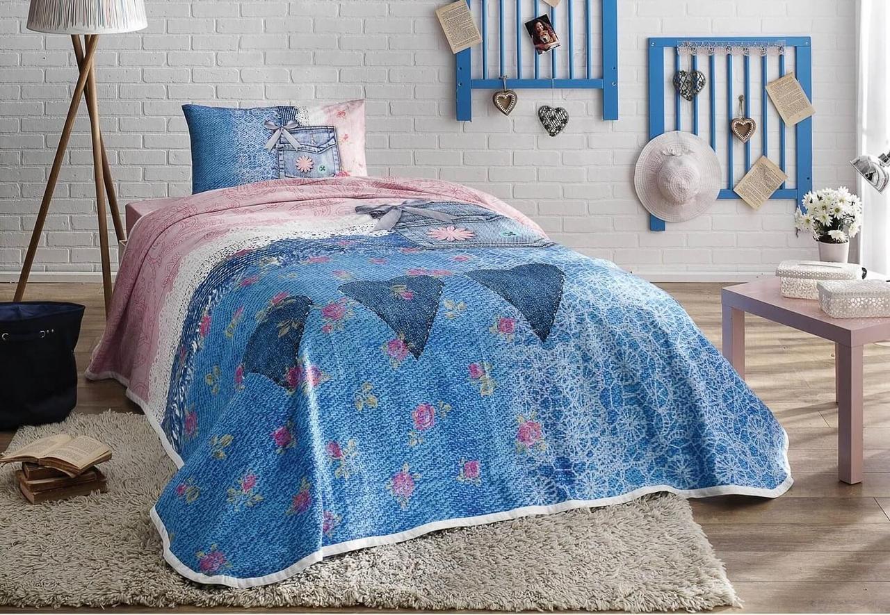 Комплект постельного белья с покрывалом-пике TAC Lacy полуторный / простынь на резинке