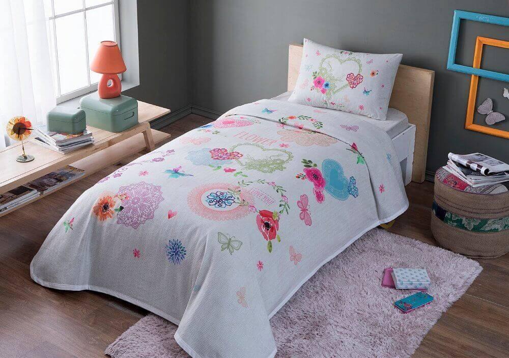 Комплект постельного белья с пике TAC Dottie полуторный / простынь на резинке
