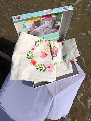 Комплект постельного белья с пике TAC Dottie полуторный / простынь на резинке, фото 2