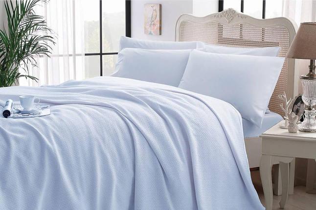 Комплект постельного белья с покрывалом-пике TAC Iglo Blue евро / простынь на резинке, фото 2