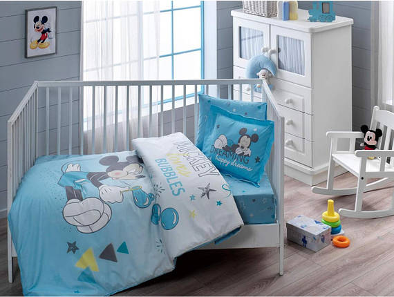 Комплект постельного белья в кроватку TAC Disney Mickey Bubble Baby Ранфорс, фото 2