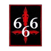 666 -2 (Gothic, з хрестом) - нашивка з вишивкою