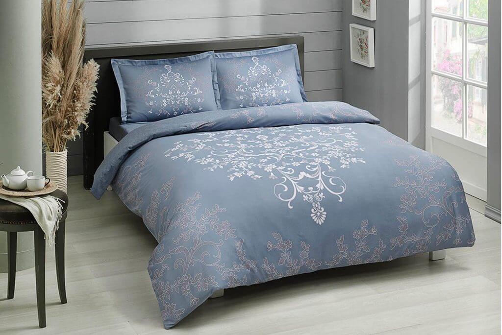 Двуспальный евро комплект TAC Anissa Blue Сатин