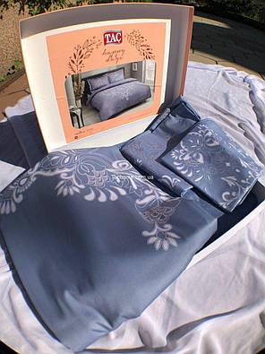 Двуспальный евро комплект TAC Anissa Blue Сатин, фото 2