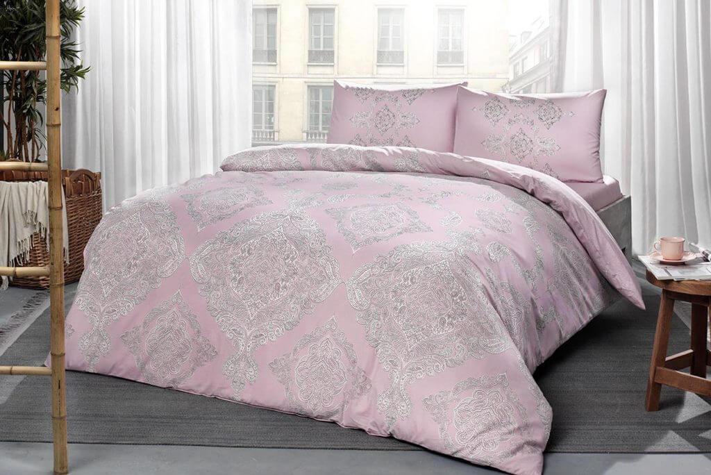 Двуспальный евро комплект TAC Mirabel Pink Ранфорс